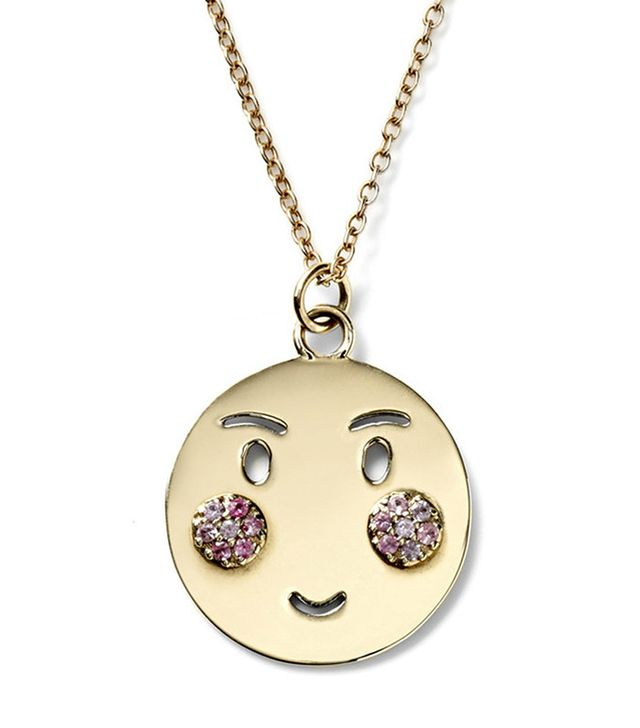 Alison Lou Large Bashful Pendant with Pink Sapphire Cheeks