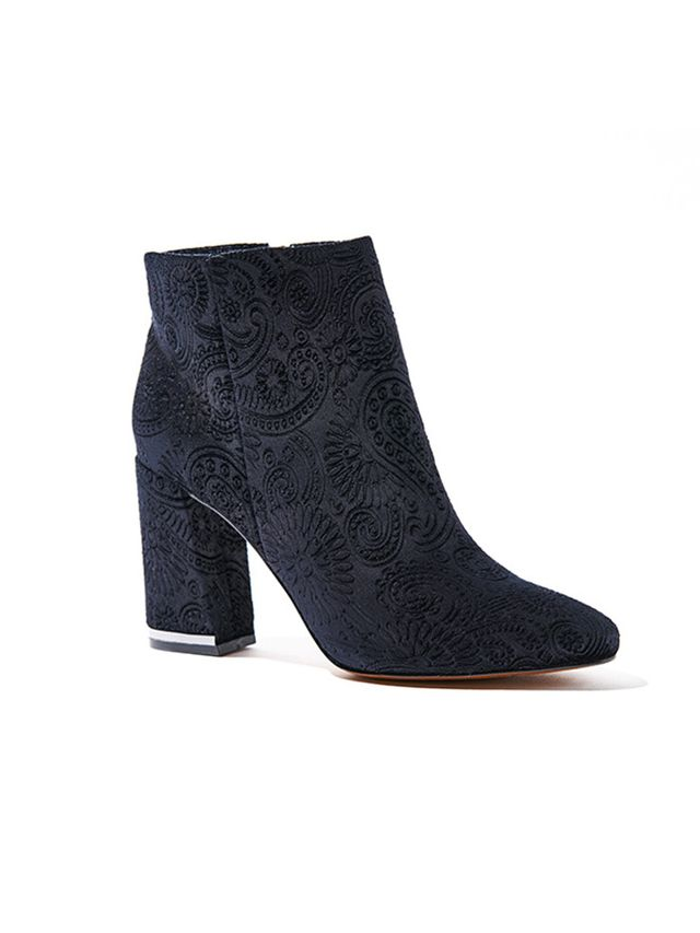 Who What Wear Cora Paisley Velvet Booties