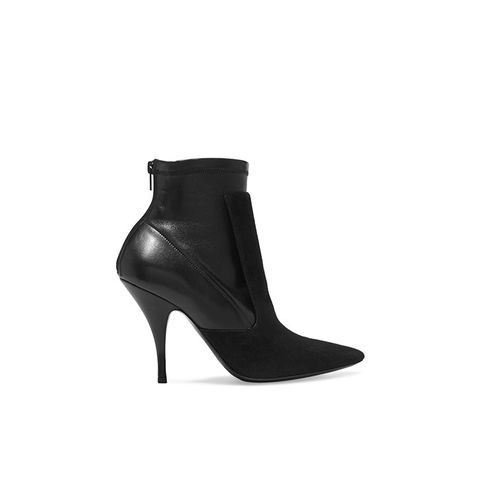 Ankle Boots in Black Suede and Stretch Leather
