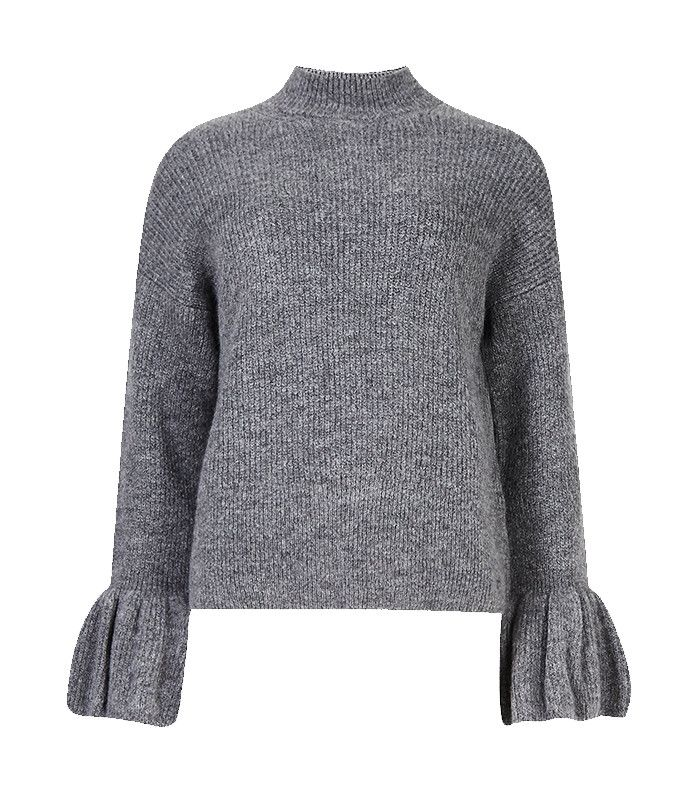 M&S Collection Funnel Neck Fluted Sleeve Jumper