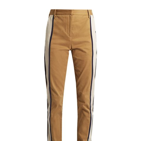 Side-Striped Slim-Leg Trousers