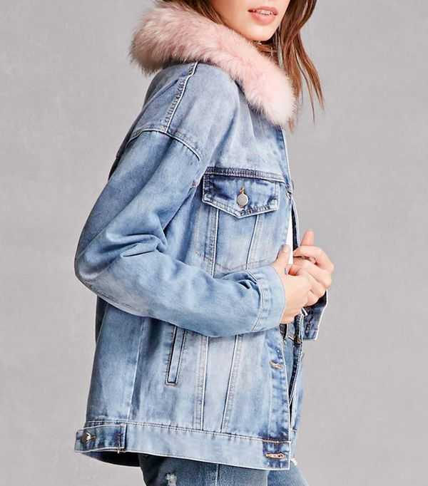 Forever 21 Faux Fur Collar Denim Jacket