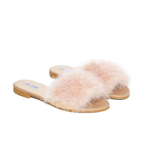 Valley Girl Feather Slide Sandal