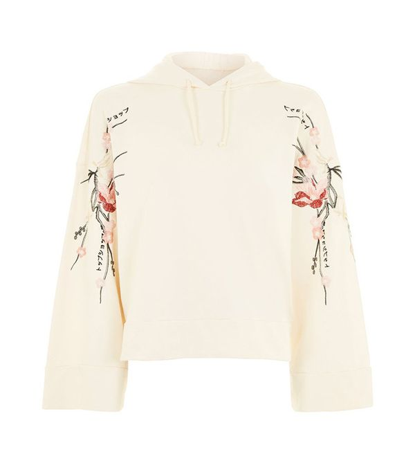 Topshop Embroidered Hoodie