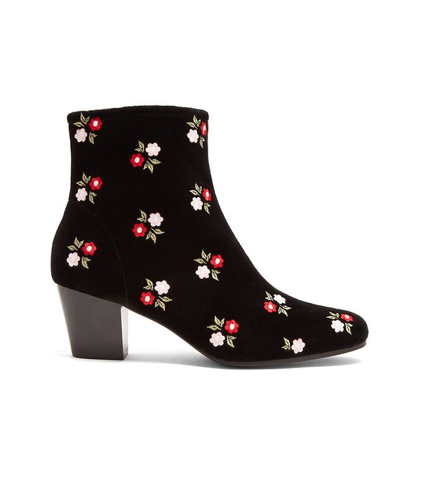 Beatnik Embroidered Cotton-velvet Ankle Boots