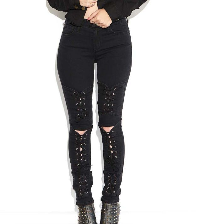 Made.Gold Bianca Lace Up Jeans In Magnet