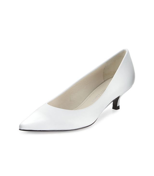 Stuart Weitzman  Poco Leather Kitten-Heel Pumps