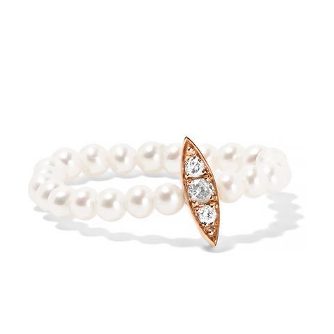 14-Karat Rose Gold, Pearl and Diamond Ring