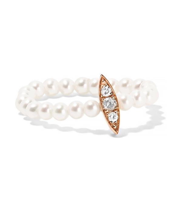 Anissa Kermiche 14-Karat Rose Gold, Pearl and Diamond Ring