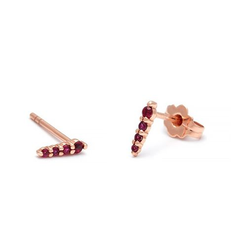 Pavé Pointe Stud Earrings in Rose Gold & Ruby