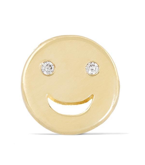Alison Lou Happy 14-Karat Gold Diamond Earring