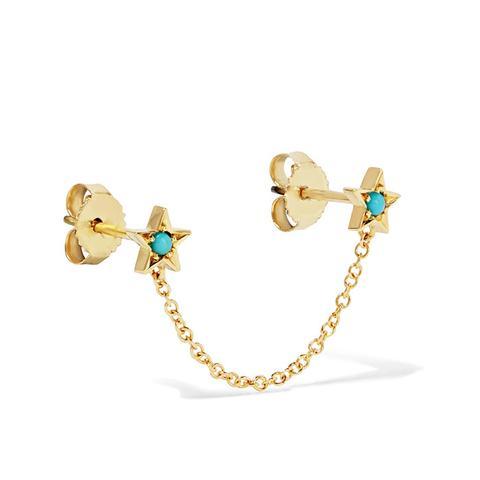 18-Karat Gold Turquoise Earring