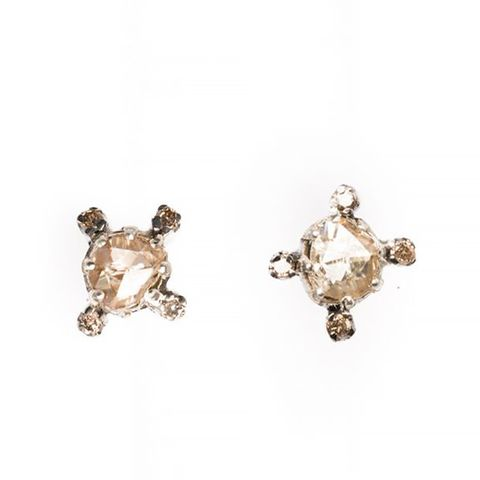 Faceted Round Diamond Studs
