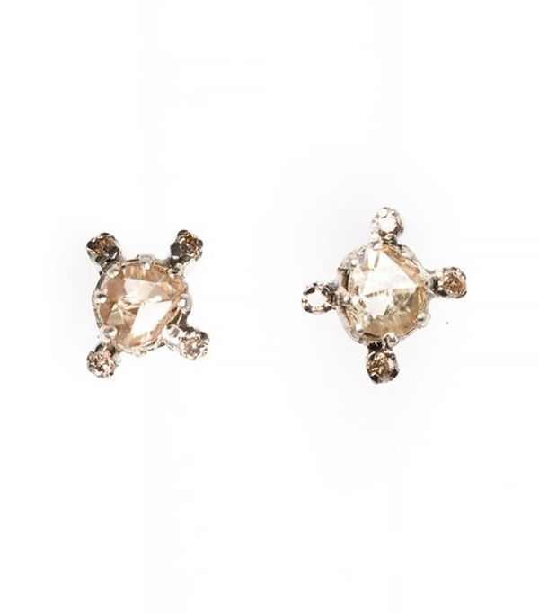 The Woods Faceted Round Diamond Studs