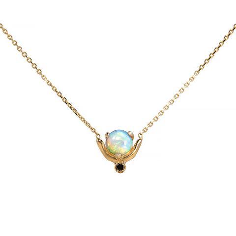 Nestled Opal and Diamond Necklace