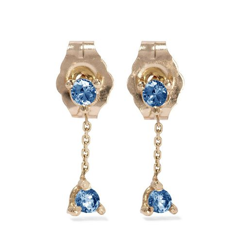 Two-Step 14-Karat Gold Sapphire Earrings