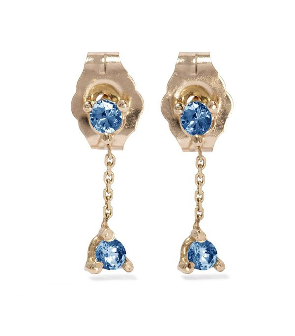 Wwake Two-Step 14-Karat Gold Sapphire Earrings