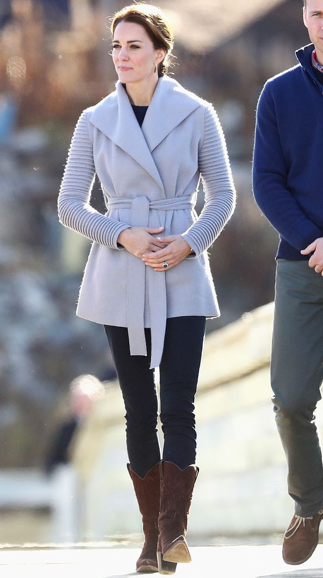On Kate Middleton: Sentaler Wrap Coat With Ribbed Sleeves ($920).