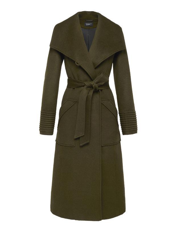 Sentaler Long Wide-Collar Wrap Coat