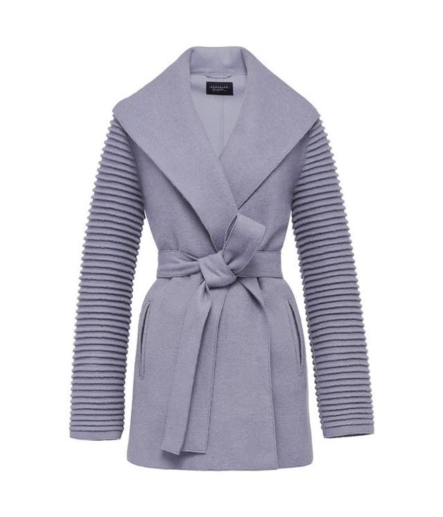 Sentaler Wrap Coat With Ribbed Sleeves