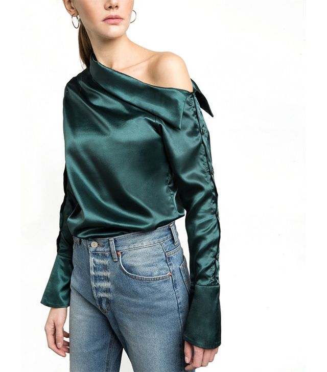 Pixie Market Green Satin Button One-Shoulder Shirt