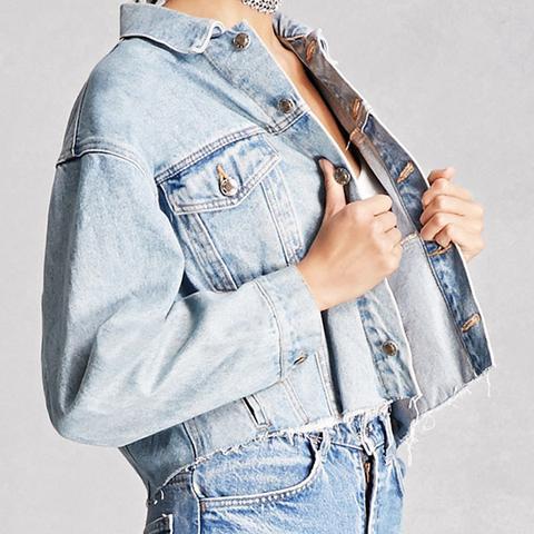 Vintage Raw-Hem Denim Jacket