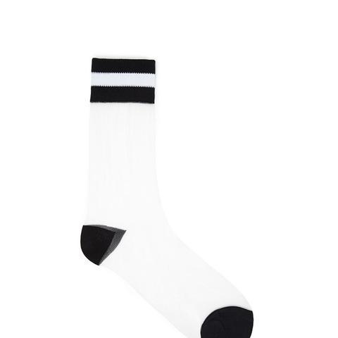 Striped Mesh Crew Socks
