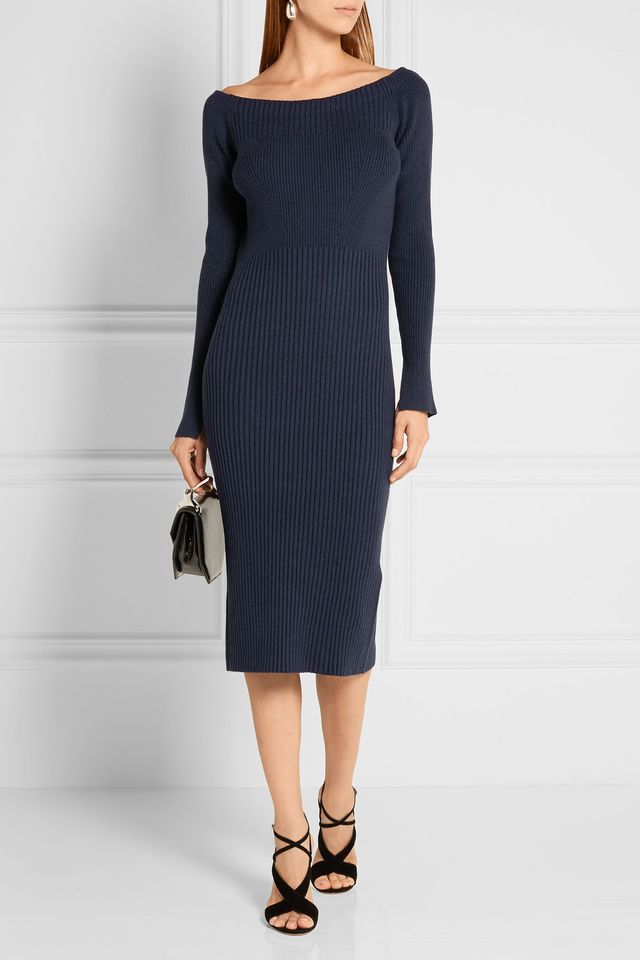 Jason Wu Off-the-Shoulder Ribbed Dress