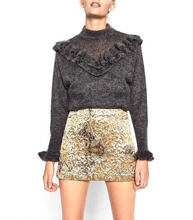 Zara Gold Jacquard Mini Skirt