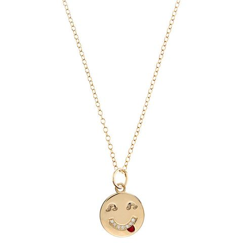 Diamond & Yellow-Gold Tongue Out Face Necklace