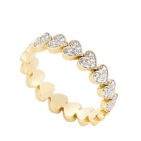 Diamond Heart Stack Ring