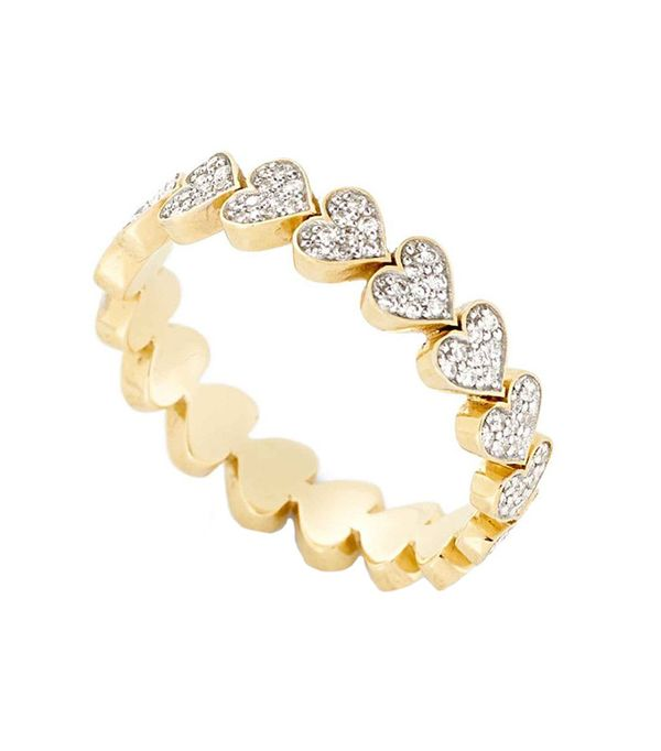 Alison Lou Diamond Heart Stack Ring