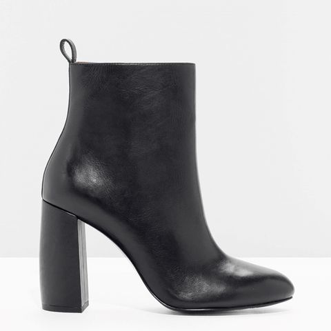 Sculpture Heel Leather Boots