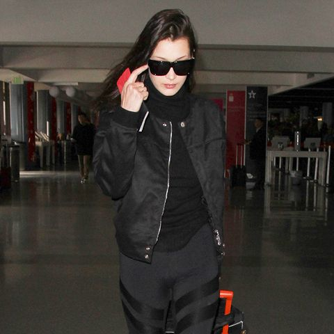 Bella Hadid airport outfit leggings