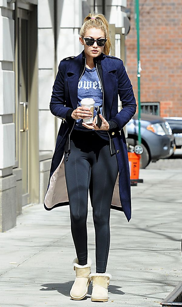 Gigi Hadid wearing leggings and uggs street style
