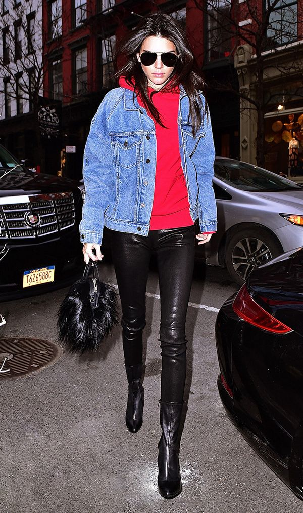 Kendall Jenner wearing legging and jean jacket