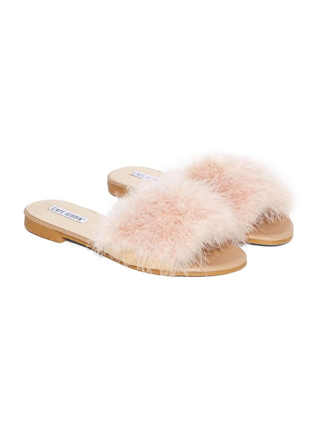 Nasty Gal Valley Girl Feather Slide Sandal