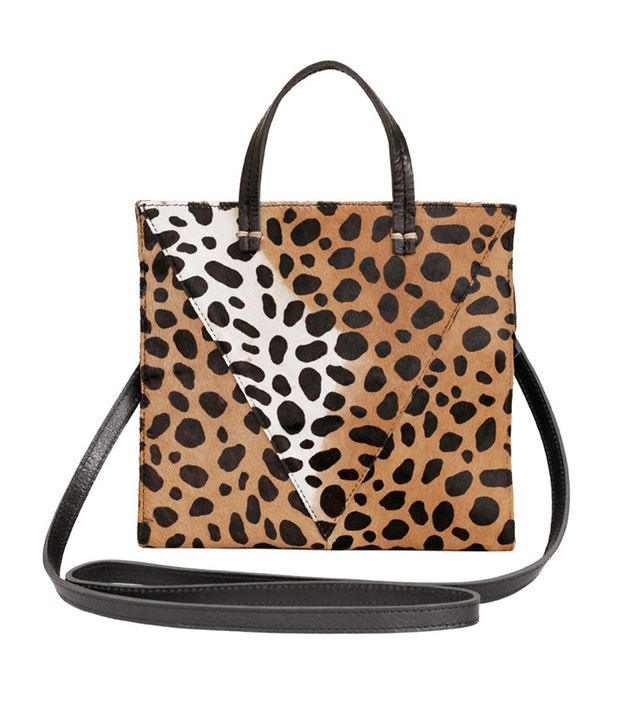 Clare V. Petit Simple Leopard-Print Genuine Calf Hair Tote