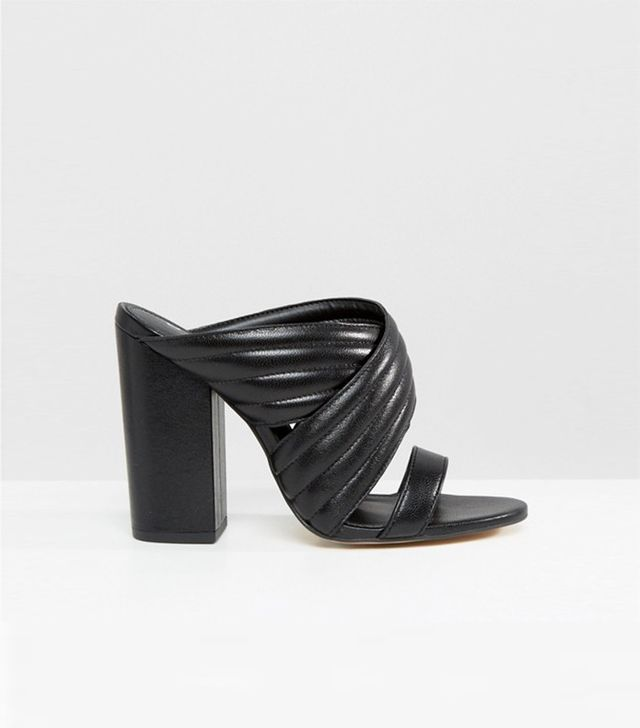 Office Sierra Black Leather Heeled Mules