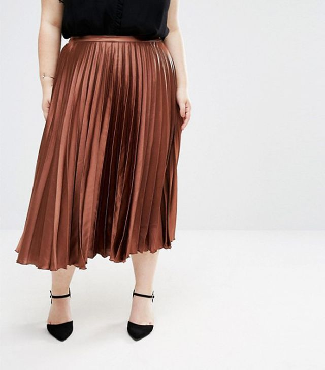 ASOS Curve Midi Skirt in Pleated Satin