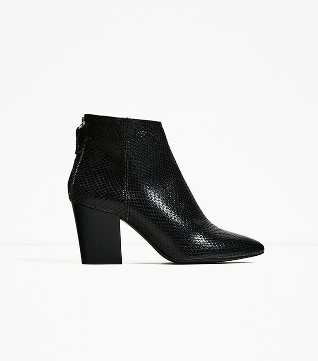 Zara Embossed Leather High Heel Ankle Boots