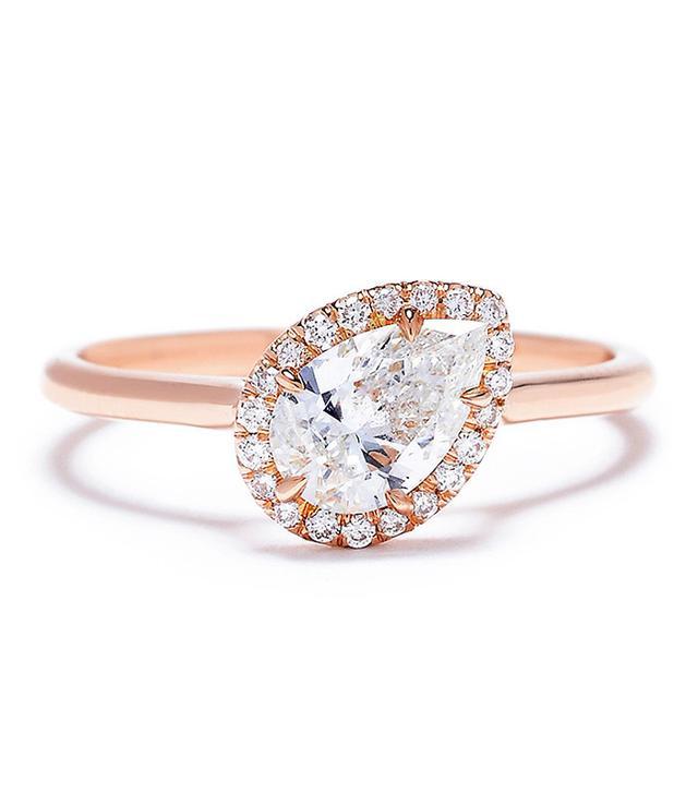 Jade Trau Free Bird Halo Diamond Ring