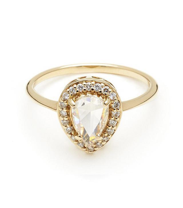 Anna Sheffield Pear Rosette Ring Champagne Diamond