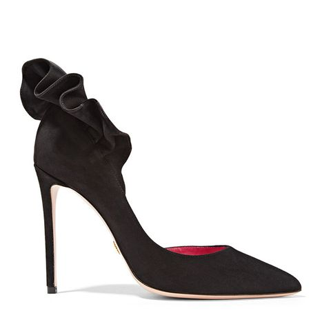Adele Ruffle-Trimmed Suede Pumps