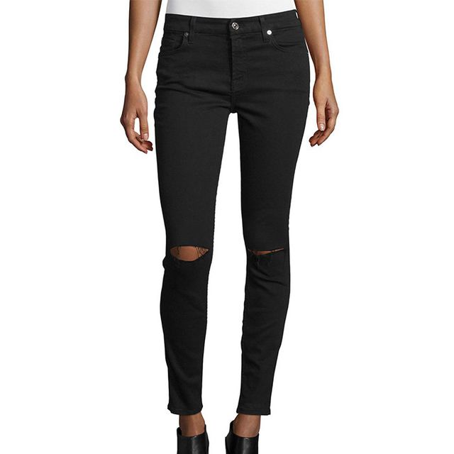 7 For All Mankind The Ankle Skinny Ripped Jeans