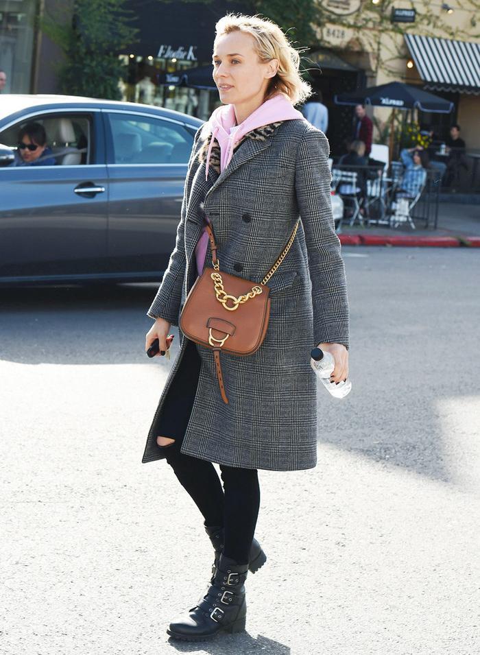 Diane Kruger pink hoodie and check coat