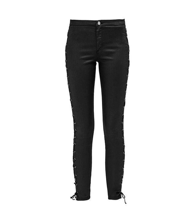 French Connection Resin Biker Lace-Up Skinny Jeans
