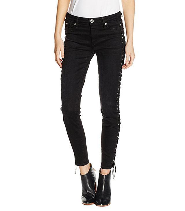 True Religion Women's Halle Crop Full Lace-Up Jeans