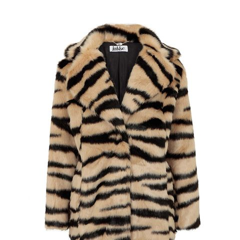 Heather Faux-Fur Tiger Coat