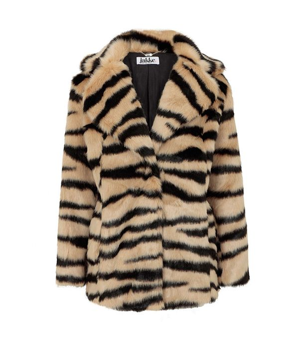 Jakke Heather Faux-Fur Tiger Coat